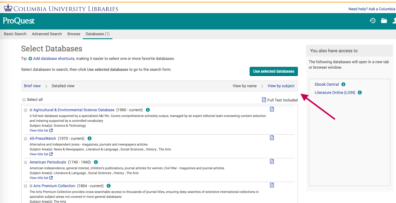 Screenshot showing subject search in databases for Avery Index (Proquest)