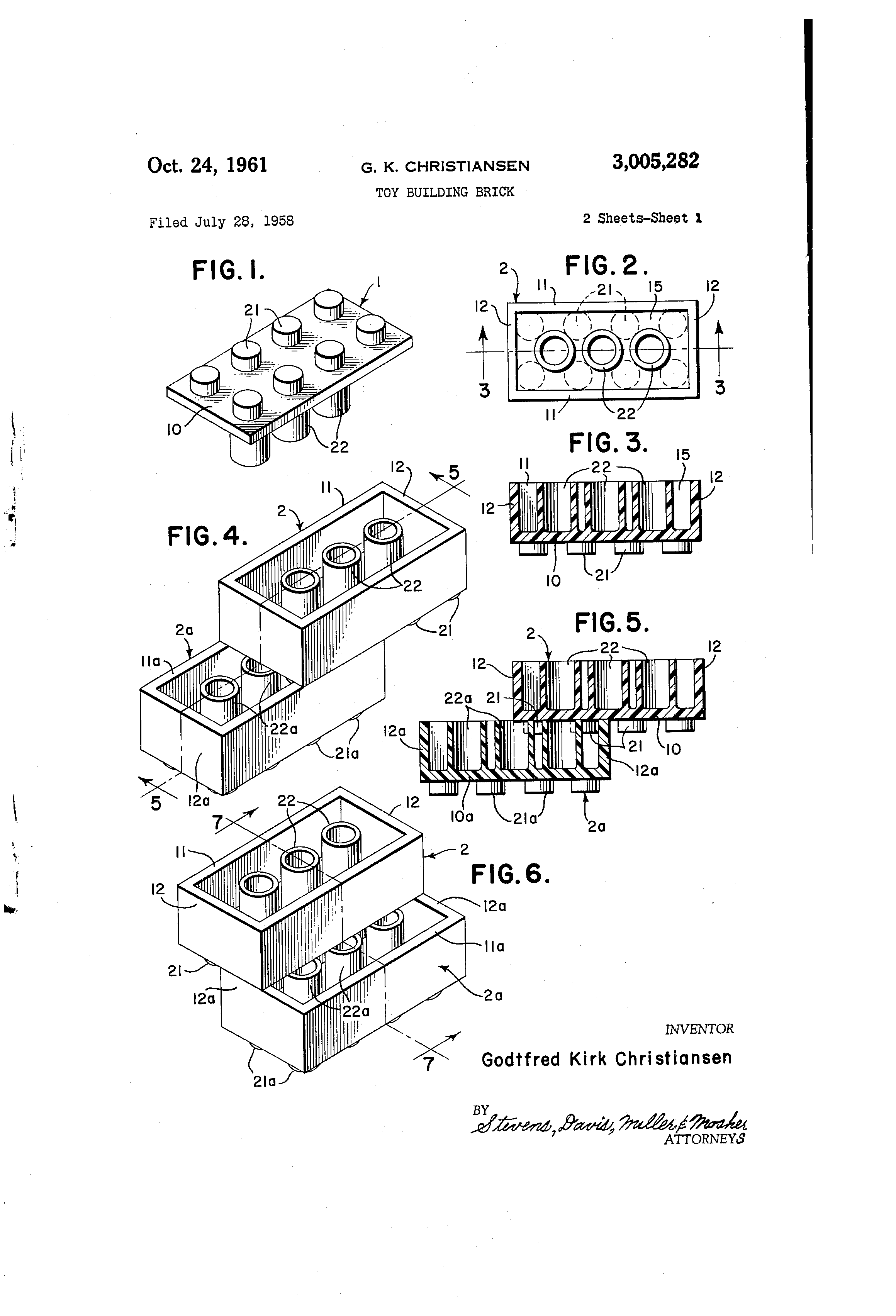 US Patent 3,005,282 Toy Building Brick image (LEGO brick)