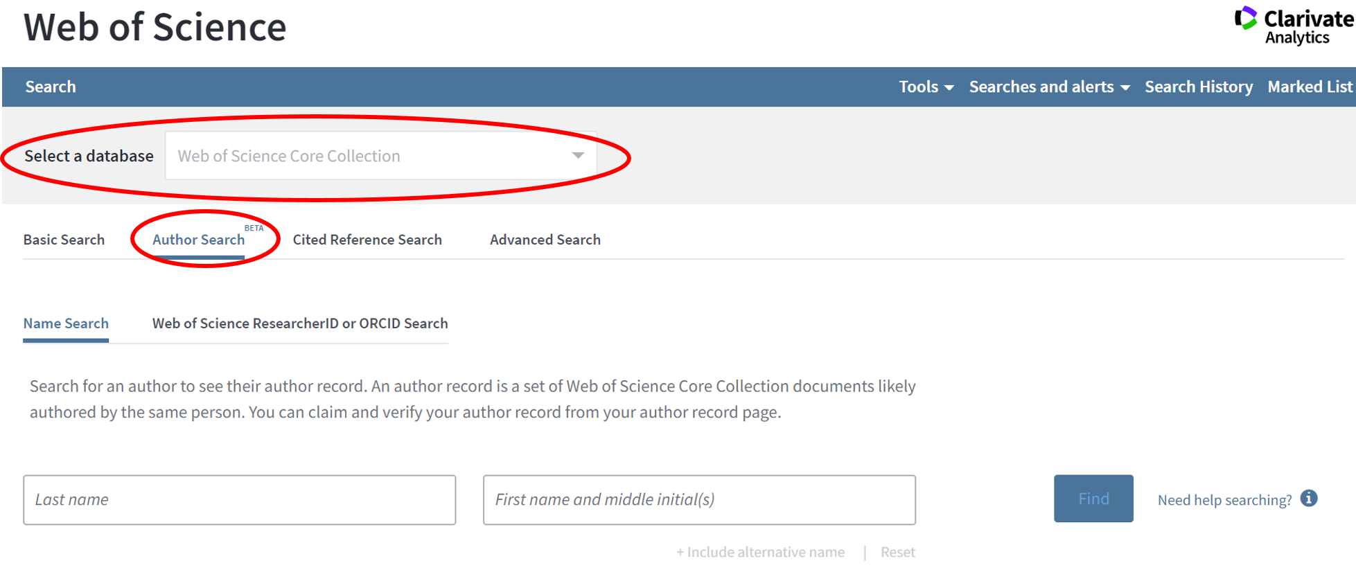 Web of Science Author Search screen