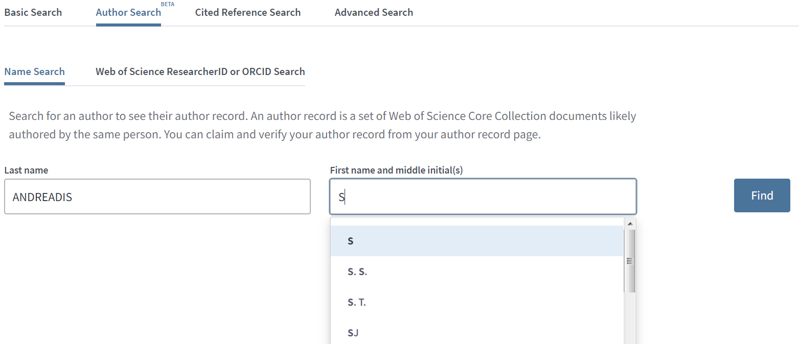 Web of Science Author Search screen with example search content