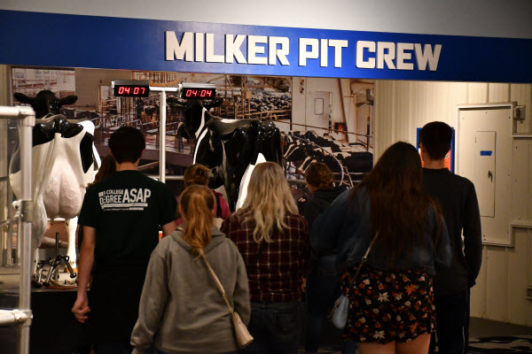 students walking toward a milking exhibit