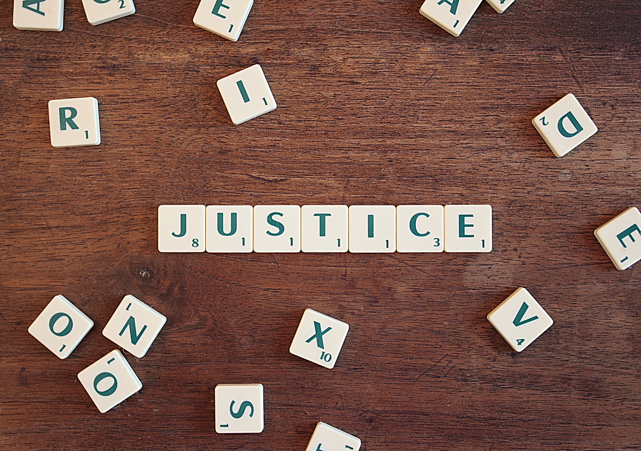 justice spelled with scramble letters