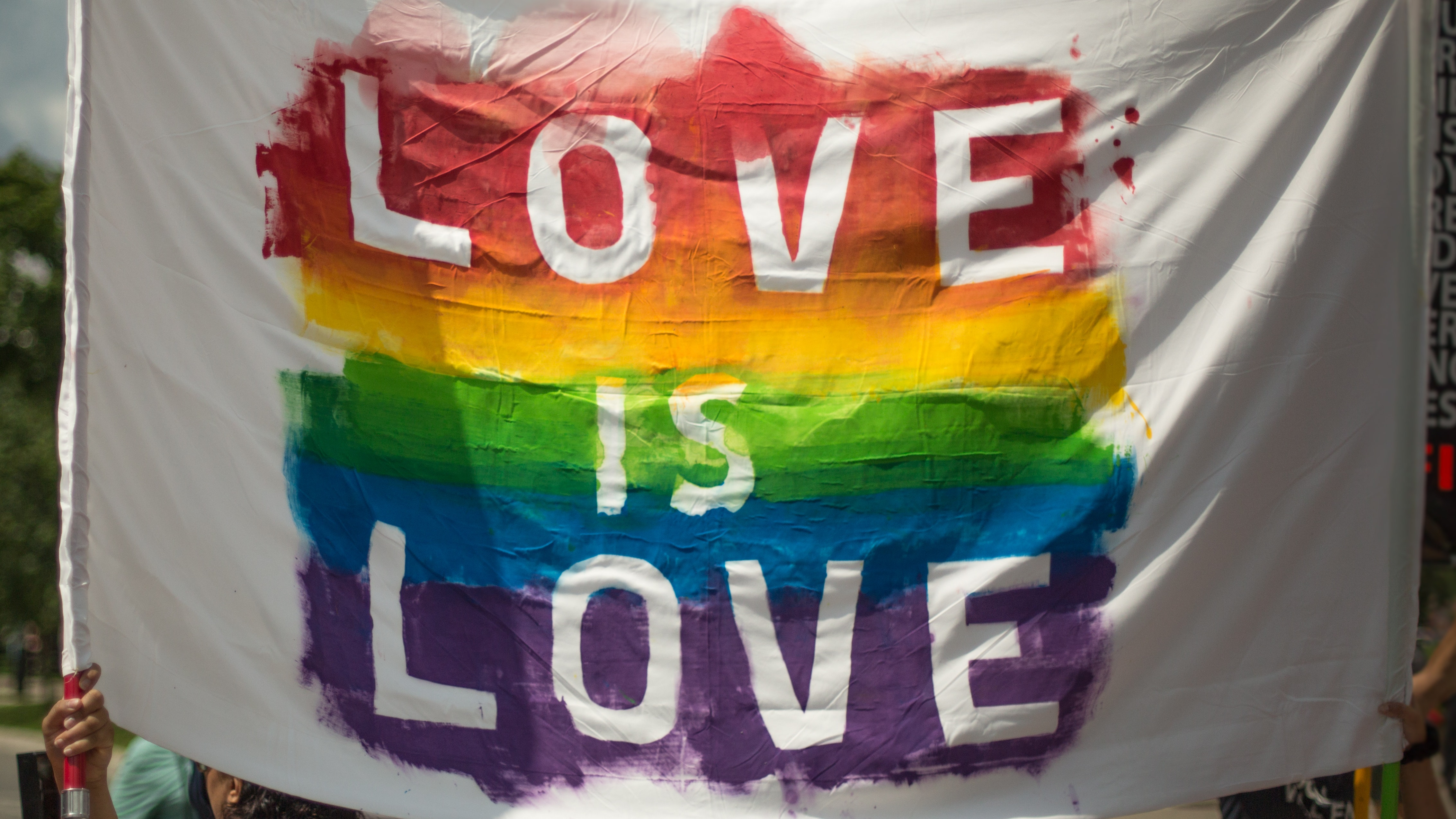 a flag with rainbow colors that read love is love