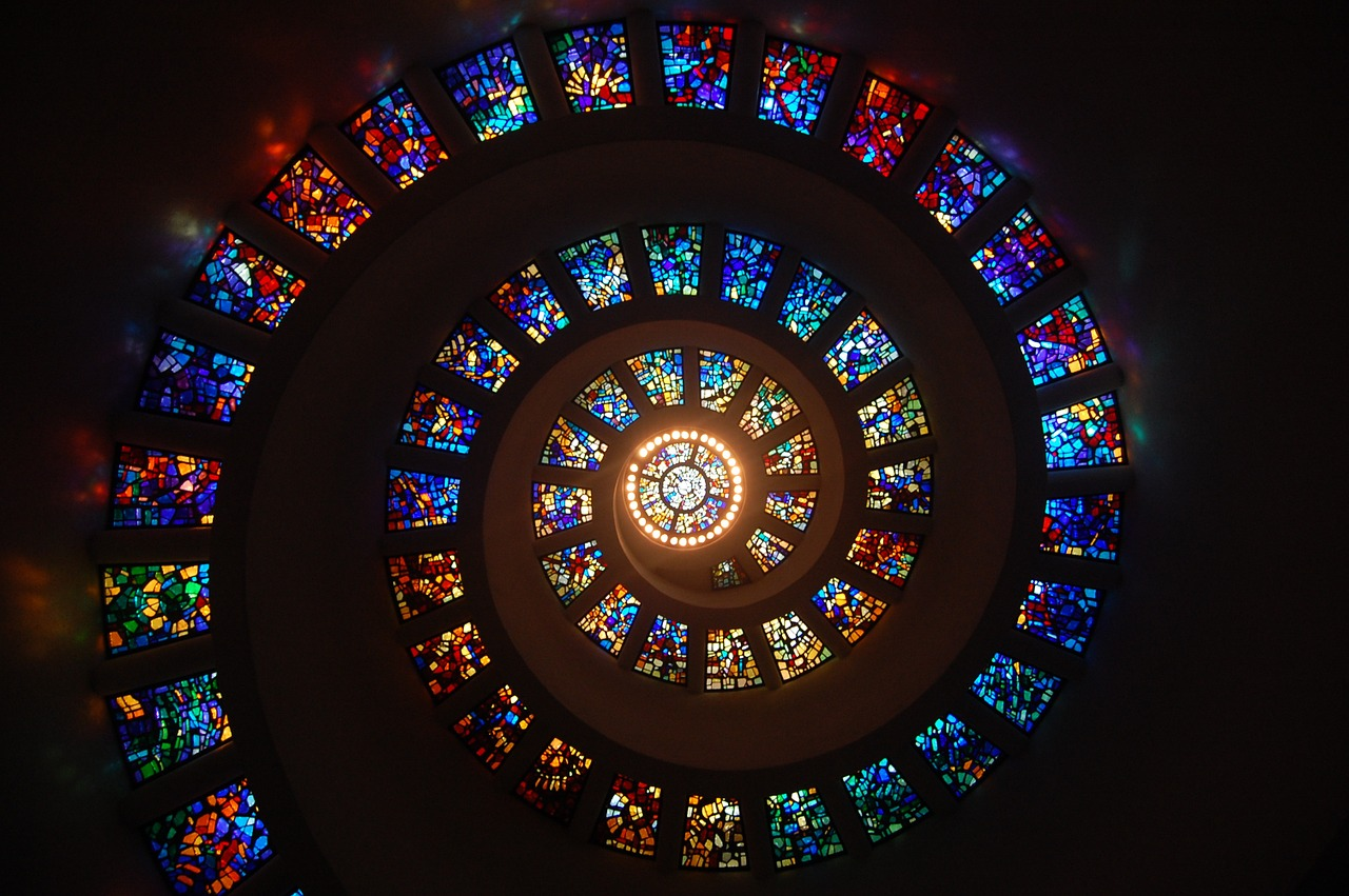 stained glass spiral window