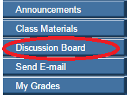 Blackboard navigational buttons, discussion board circled