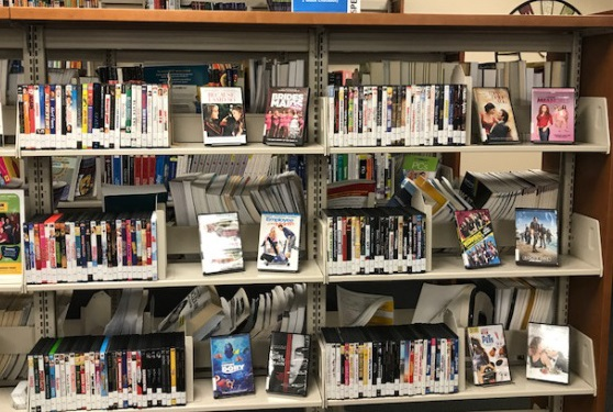 DVD collection on a Library shelf