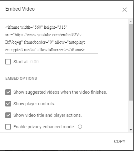 screen shot of embed code from YouTube