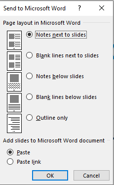 Powerpoint to Word Handouts options