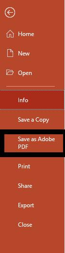 Powerpoint Menu options