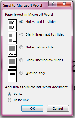 Microsoft Word dialog box