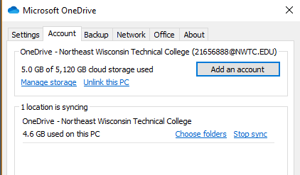 Windows right click option to Add an Account to OneDrive