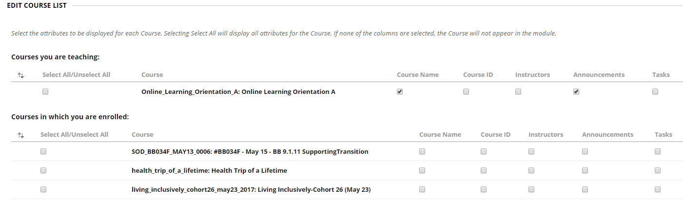 Blackboard course management interface to view or not view courses