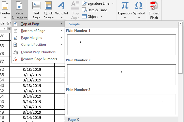 Microsoft Word display of inserting a page number into the header of a document