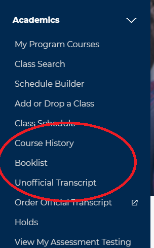 In my.nwtc, view of Academics category for Unofficial Transcripts and Course History