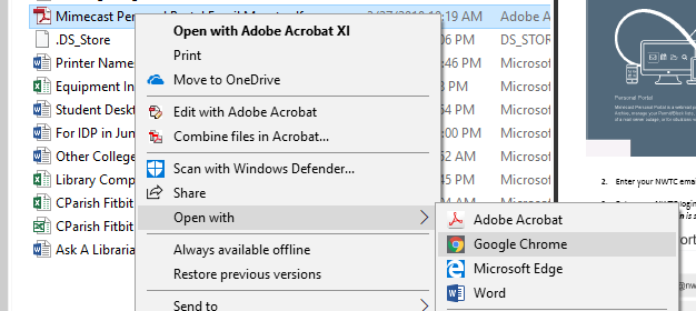 Contextual right click menu to open a file in another application