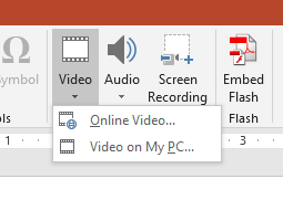 PowerPoint 2016 Insert tab contents showing Media group to embed video