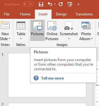 PowerPoint 2016 showing Insert tab, click on Pictures