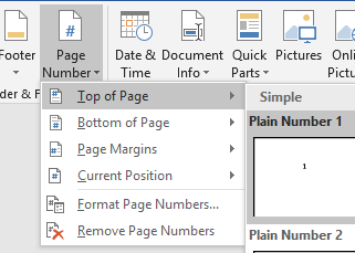 Page numbers options, choose top of page, plain number 1