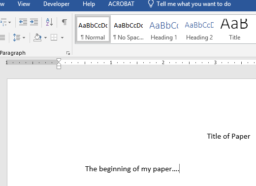 Title of paper positioning and beginning of the body of paper