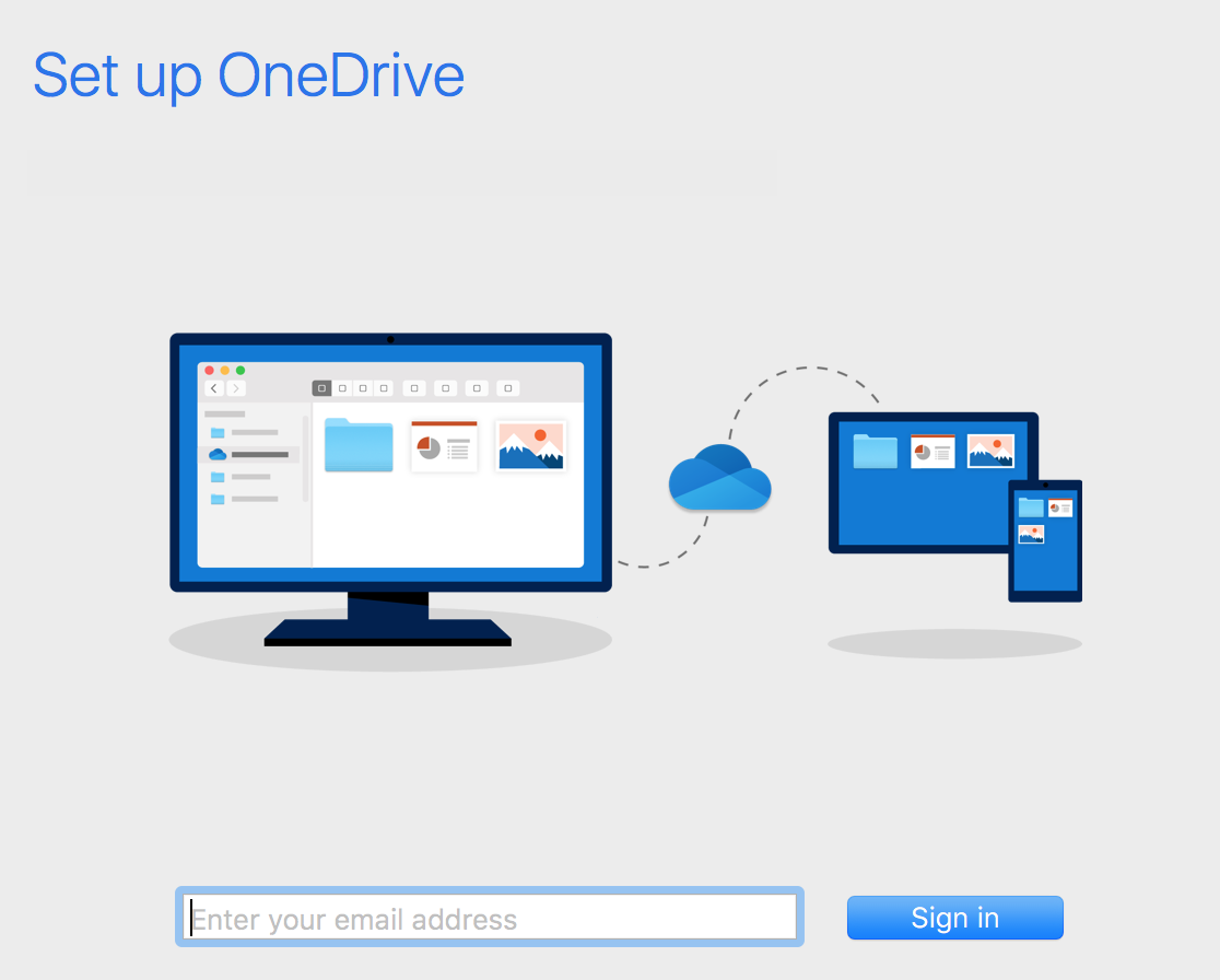 Set up OneDrive - Enter your email address - Sign In
