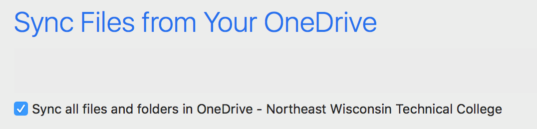 Sync Files from Your One Drive - Sync all files and folders in One Drive - Northeast Wisconsin Technical College