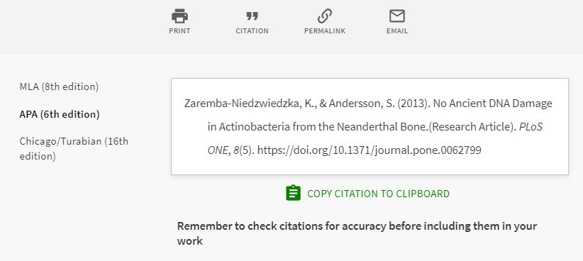 Example of an APA citation for an article using the OneSearch citation tool