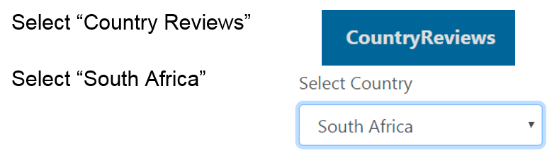 "To find South Afircan in Countrywatch first select ""country reviews,"" then select ""South Africa"""