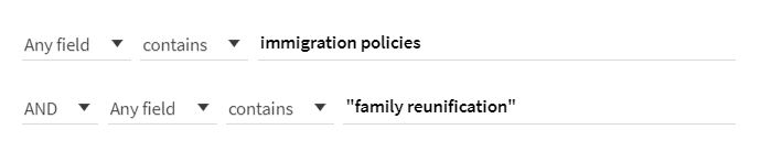 "OneSearch box with search terms immigration policies and ""family reunification"""