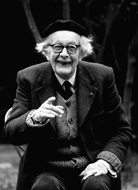 Black and white photograph of Jean Piaget