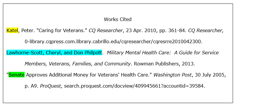 In the alphabetized Works Cited list, we see that the in-text citation matches the first word of each citation