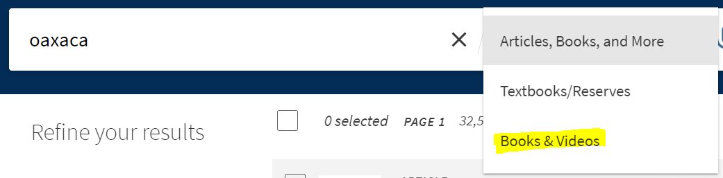 """OneSearch searc box with """"Books & Videos"""" drop down"""