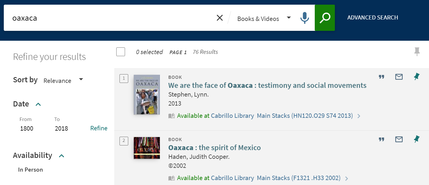 Results from search for Books & Videos in OneSearch using the keyword Oaxaca