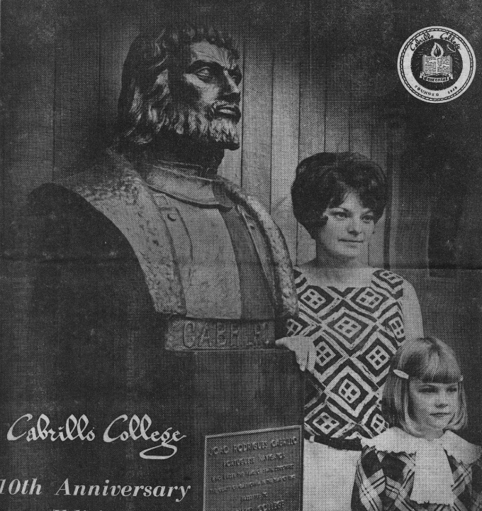Sentinel image of Cabrillo bust, women, and child from 10th anniversary