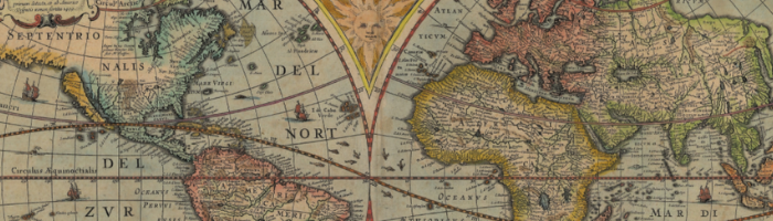 colorful, historical map of the world from 1630
