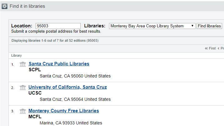 List of search results for book in libraries in 95003 area, including Santa Cruz Public Library, UCSC Library, and Monterey County Free Libraries