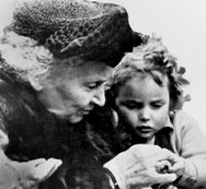 Maria Montessory and a child