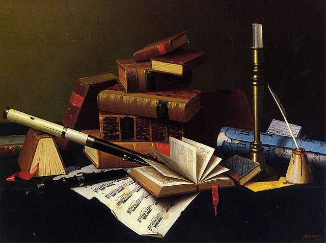 Music and Literature, oil on canvas, by artist William Michael Harnett