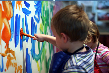 Toddler painting on wall