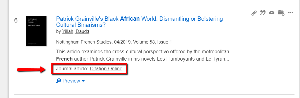 "An article result from a OneSearch search. The link below the item description reading ""Citation Online"" is highlighted."