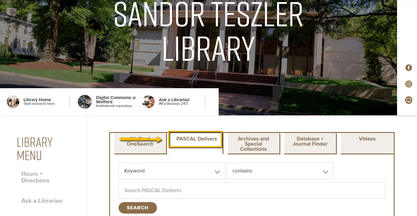 "The library homepage. In the center, the second tab, ""Pascal Delivers,"" is highlighted."