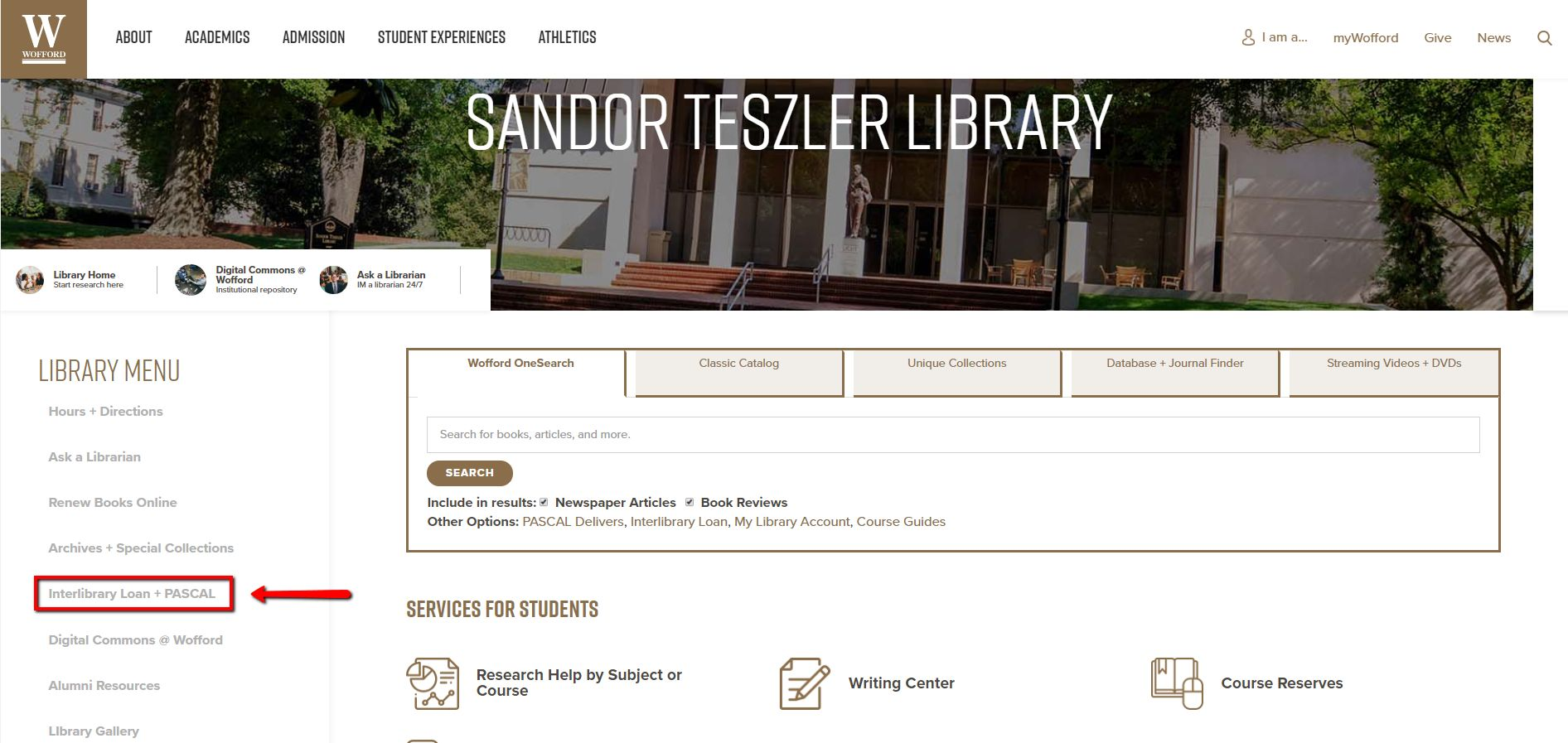 "The Wofford library homepage. In the left column, the link for ""Interlibrary Loan + PASCAL"" is highlighted."