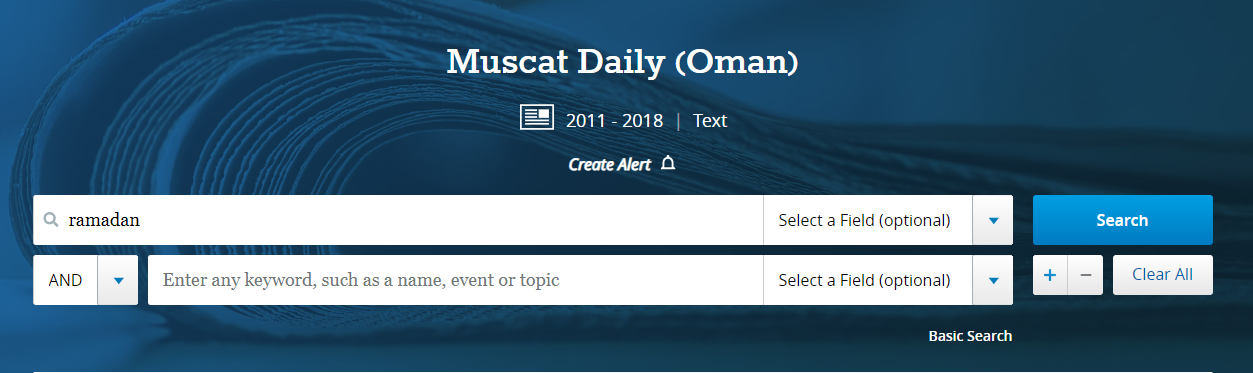 "A search for ""Ramadan"" in the Muscat Daily newspaper is shown."