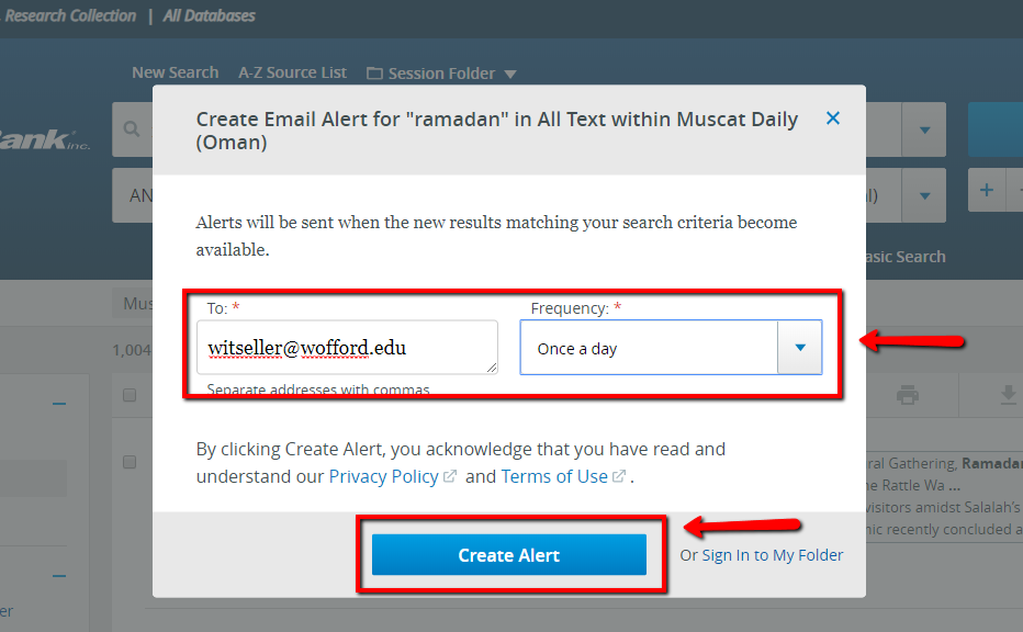 The Create Alert pop up box is pictured, with the email address field filled in and the frequency drop down set to Once a Day.