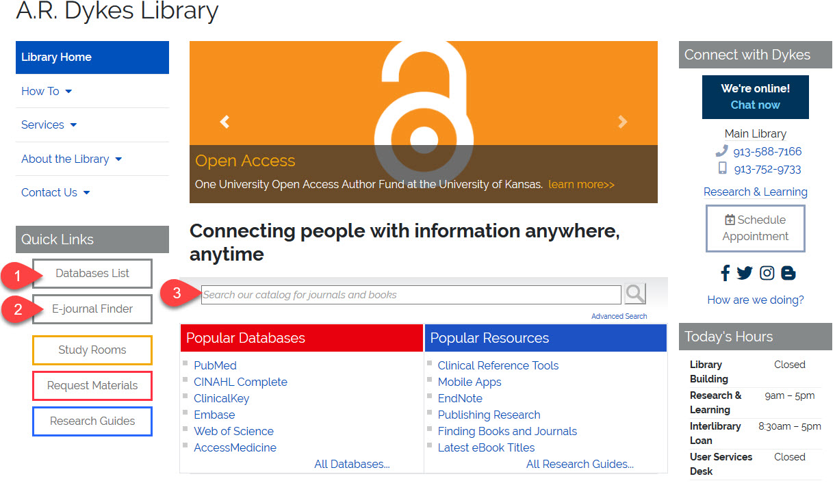 Dyke Library Homepage