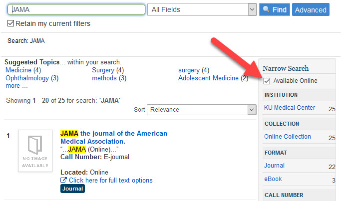 Searching for E-Journals in catalog