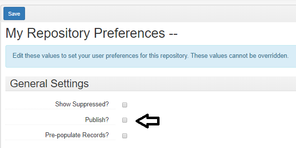 My Repository Preferences Publish? button