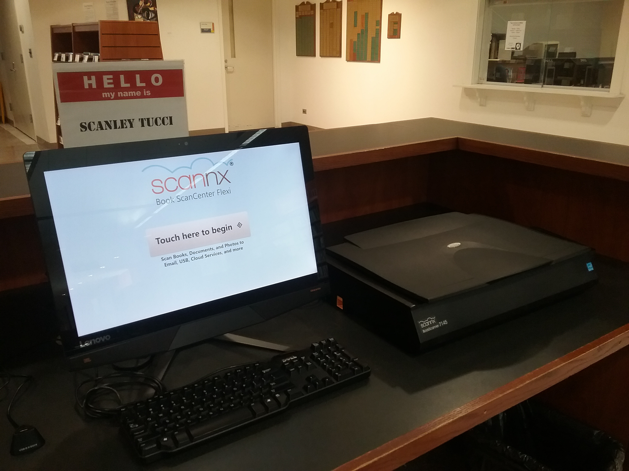Scanley Tucci scanning station at the library.