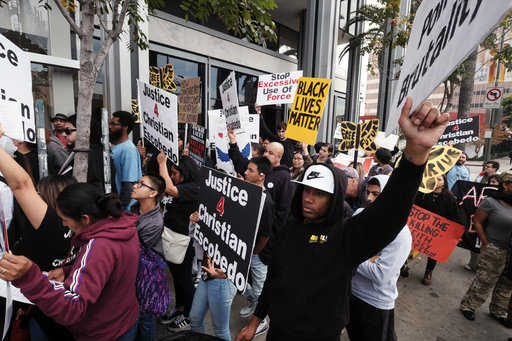 Black Lives Matter protesters in Los Angeles, 2018