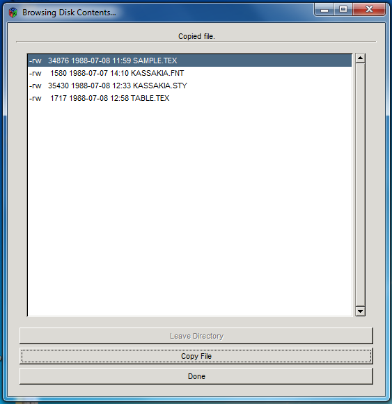 FC5025 software screen to copy a file