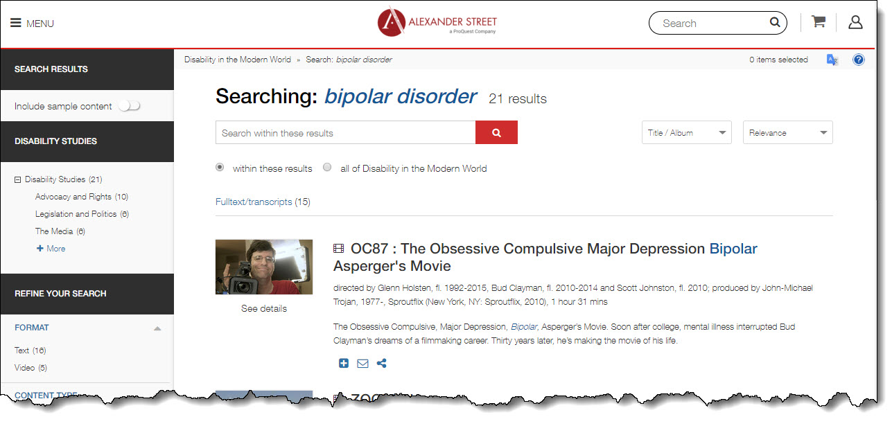 Screen shot of results after a search for bipolar disorder